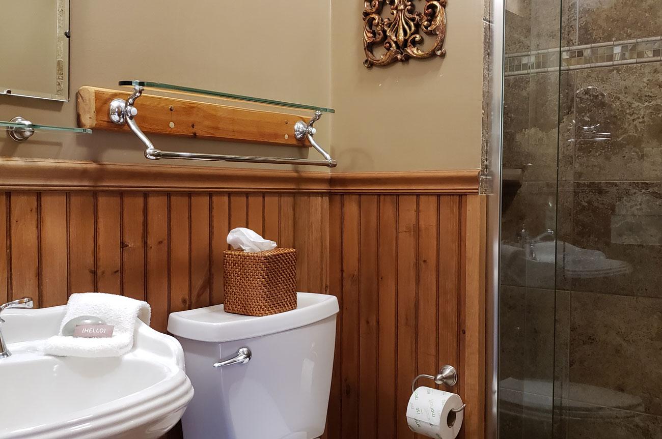 Bathroom Room 14 | AlbergoAllegriaHotelandbreakfastrestaurant | Windham NY
