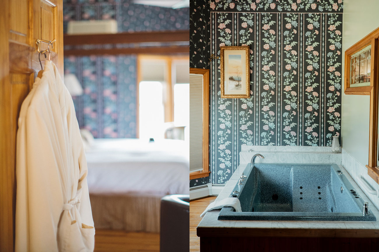 Collage Bathrobe and Tub Room 3 | AlbergoAllegriaHotelandbreakfastrestaurant | Windham NY