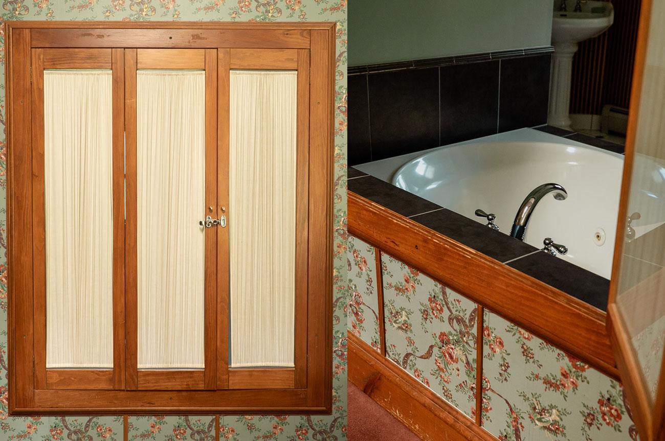 Collage Bathroom Shutter Room 19 | AlbergoAllegriaHotelandbreakfastrestaurant | Windham NY