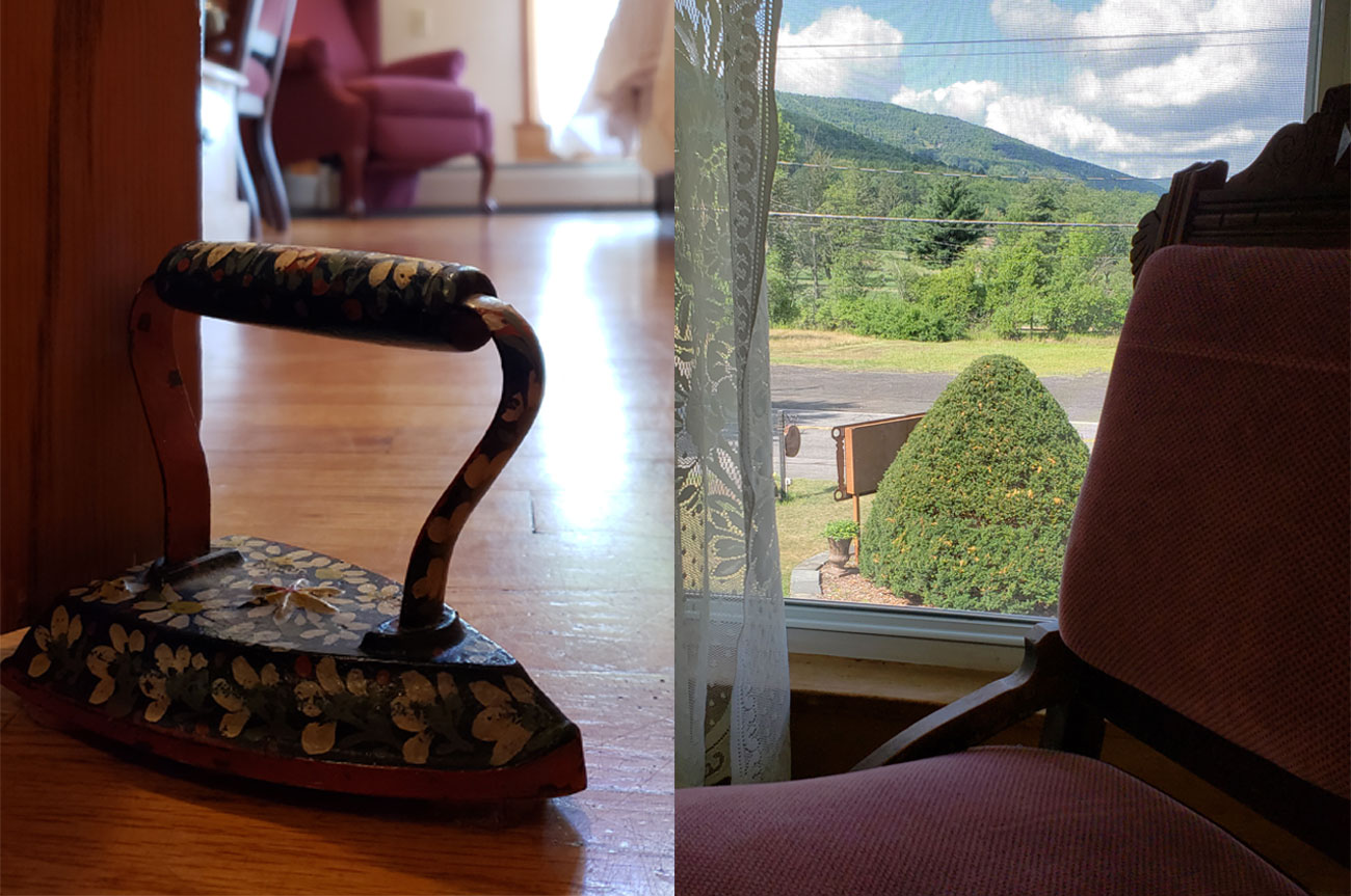 Collage Chair and Door Stopper Room 6 | AlbergoAllegriaHotelandbreakfastrestaurant | Windham NY