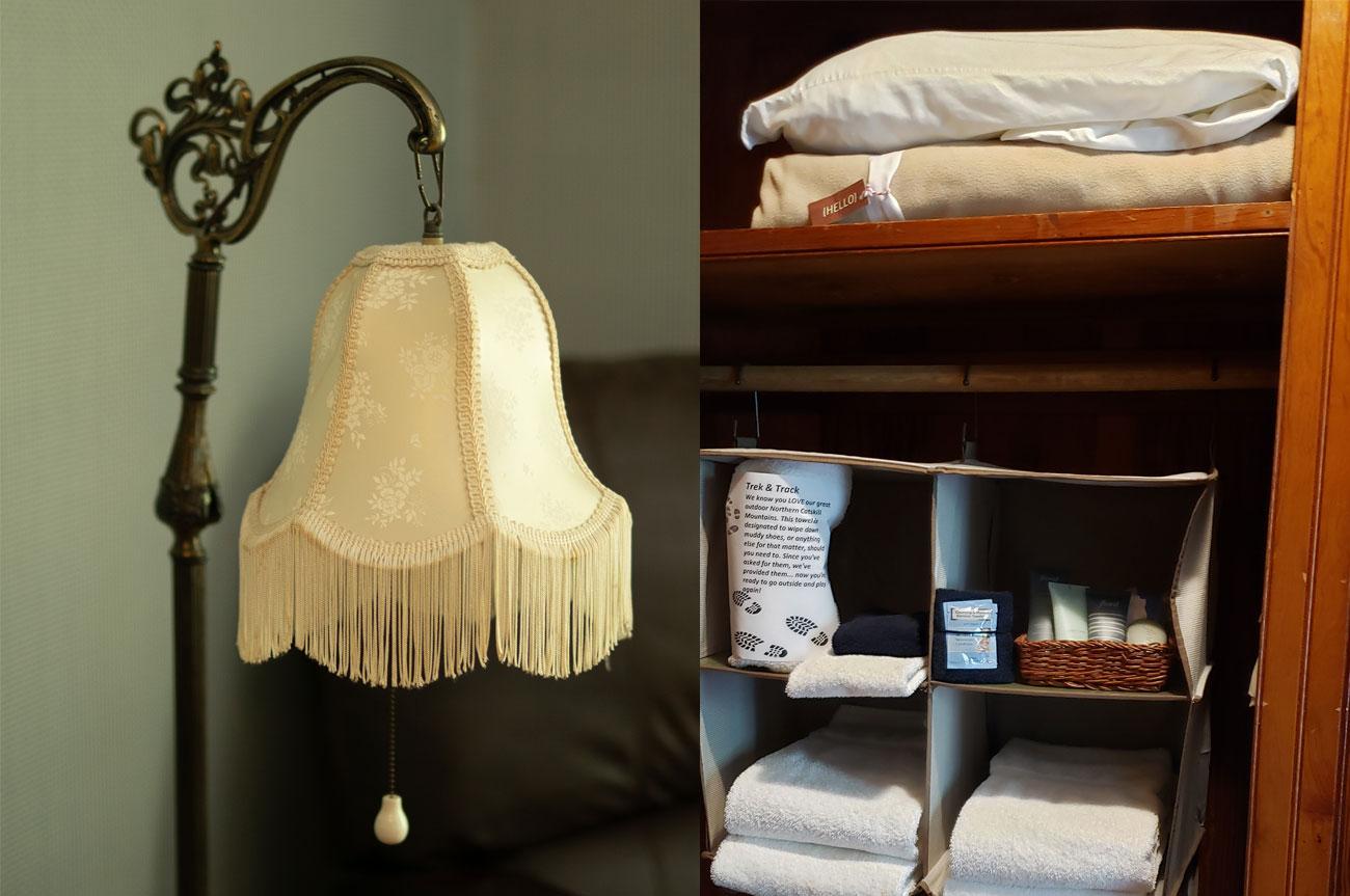 Collage Lamp and Cabinet Room 12 | AlbergoAllegriaHotelandbreakfastrestaurant | Windham NY