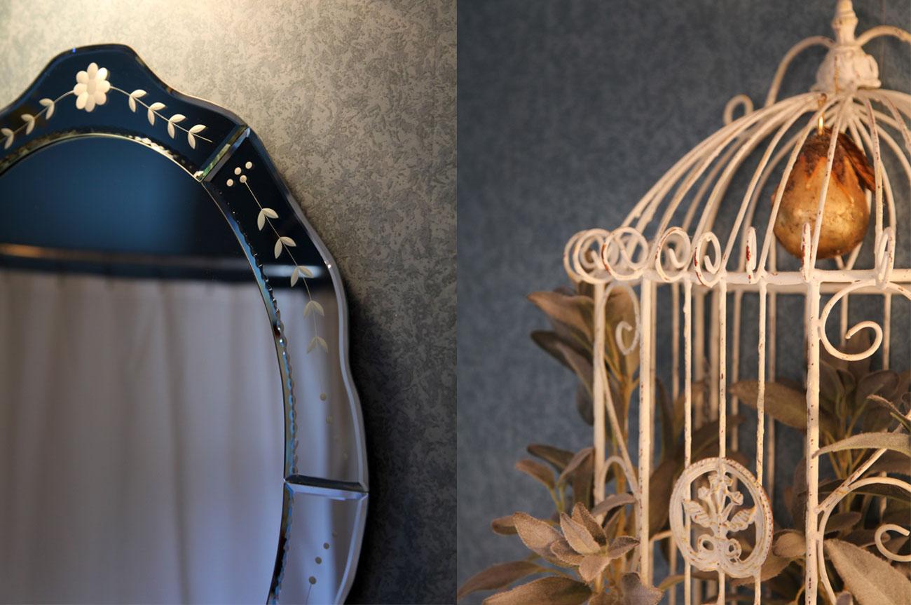 Collage Mirror and Bird Cage Room 21 | AlbergoAllegriaHotelandbreakfastrestaurant | Windham NY