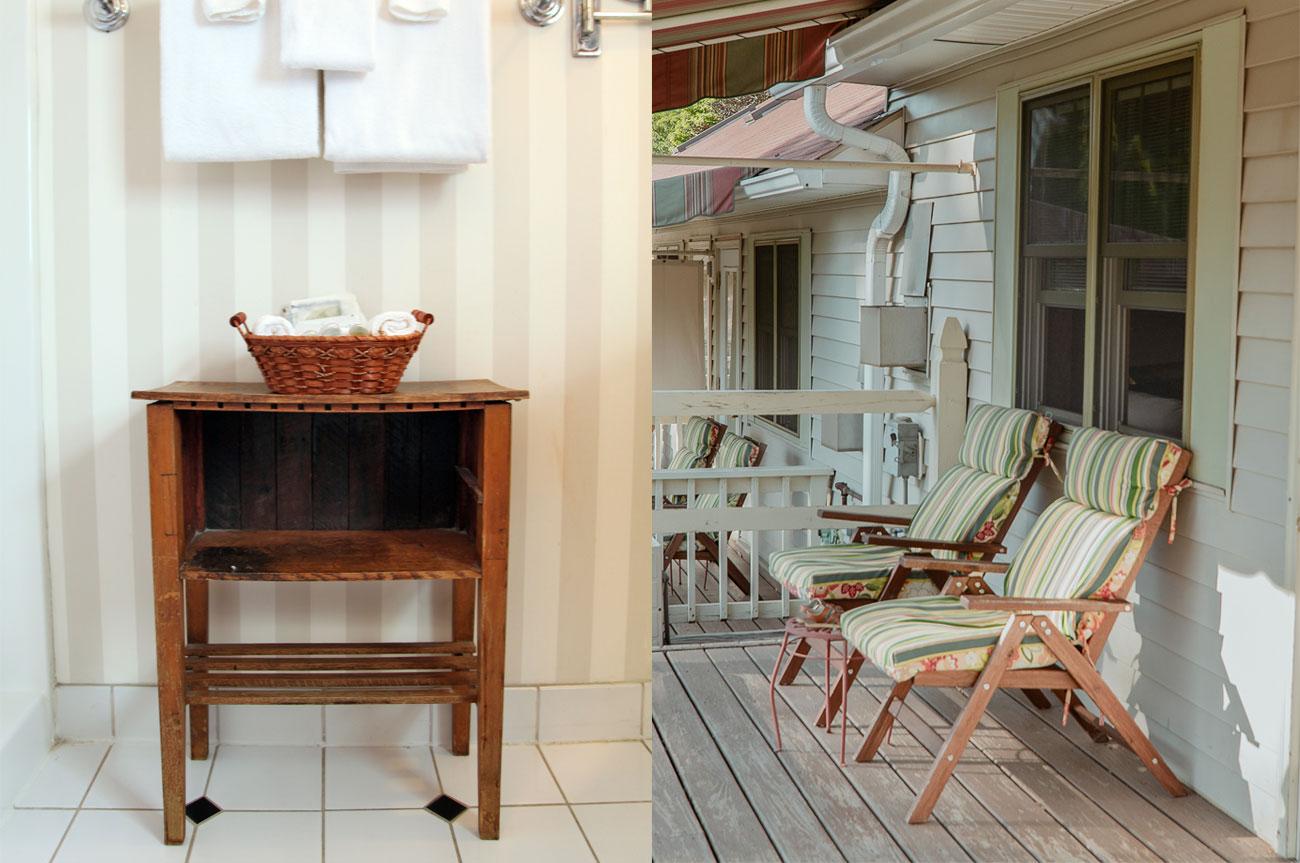 Collage Towels and Chairs Room 17 | AlbergoAllegriaHotelandbreakfastrestaurant | Windham NY