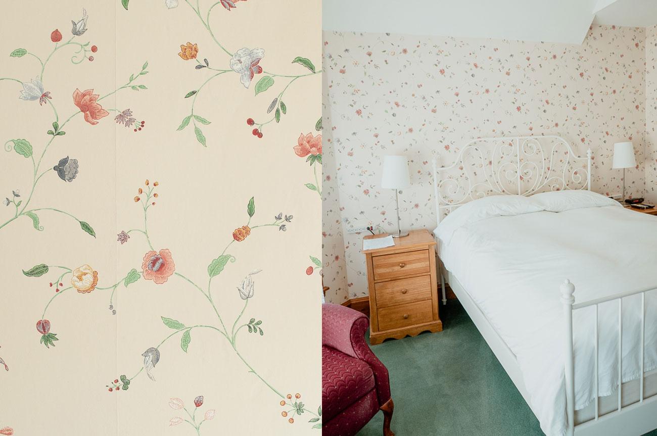 Collage Bed and Wallpaper Room 8 | AlbergoAllegriaHotelandbreakfastrestaurant | Windham NY