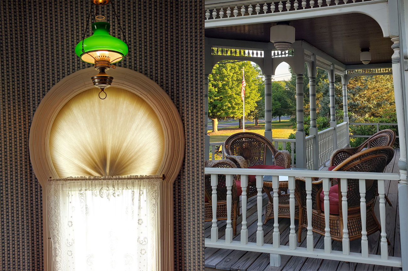 Collage Fireplace Porch Room 13 | AlbergoAllegriaHotelandbreakfastrestaurant | Windham NY