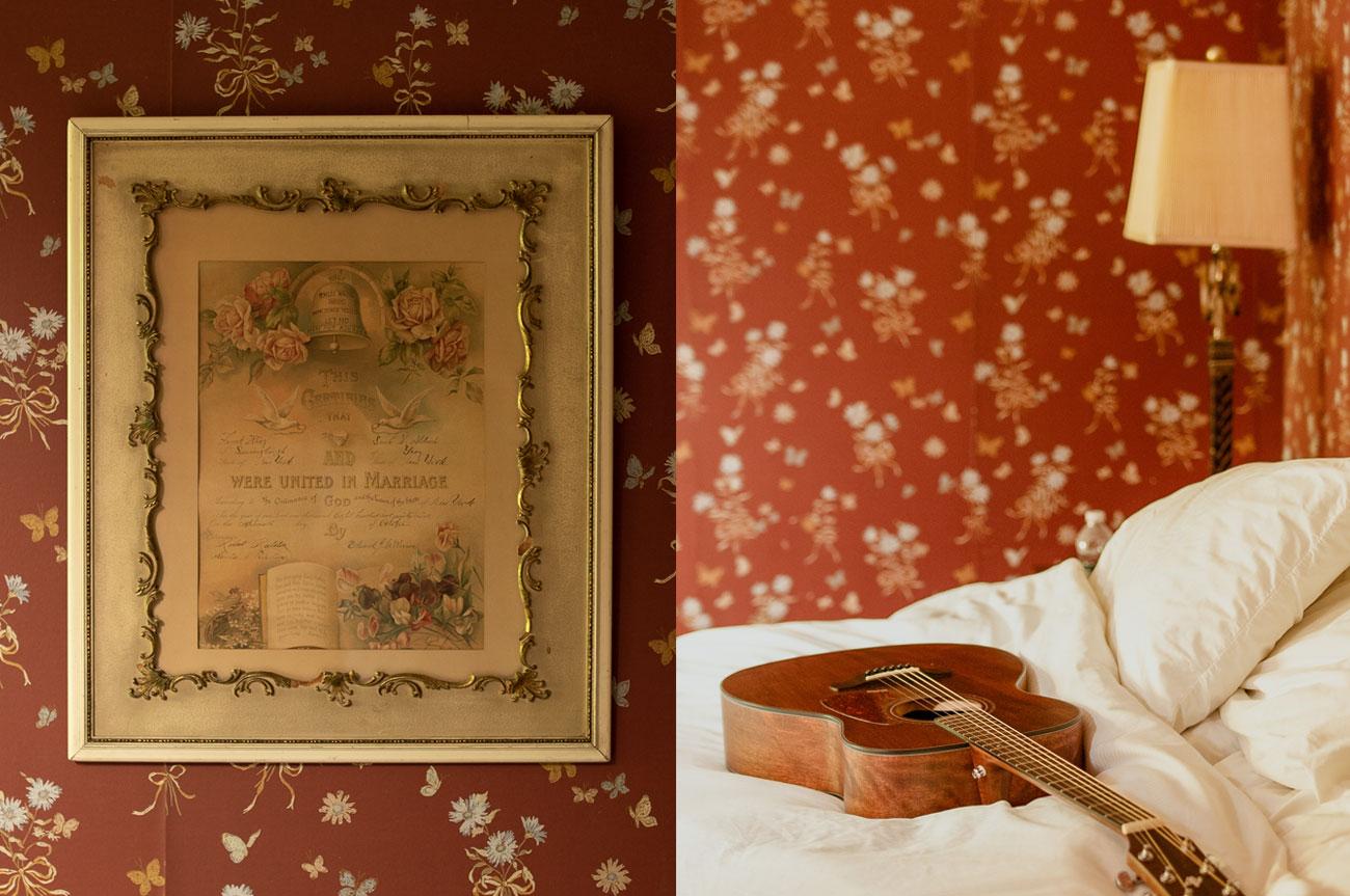 Collage Frame and Guitar Room 14 | AlbergoAllegriaHotelandbreakfastrestaurant | Windham NY