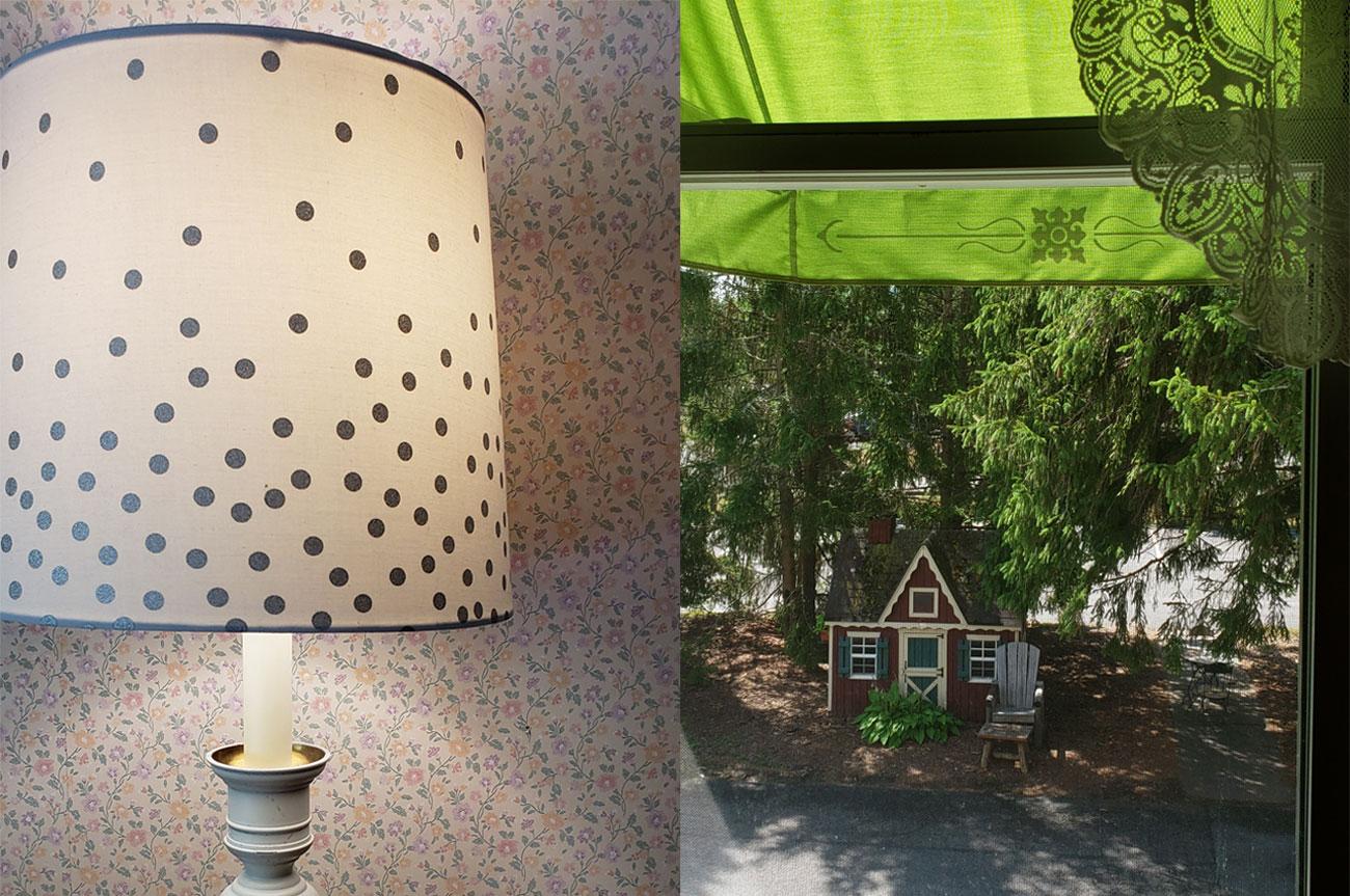 Collage Lamp and Window View Room 11 | AlbergoAllegriaHotelandbreakfastrestaurant | Windham NY