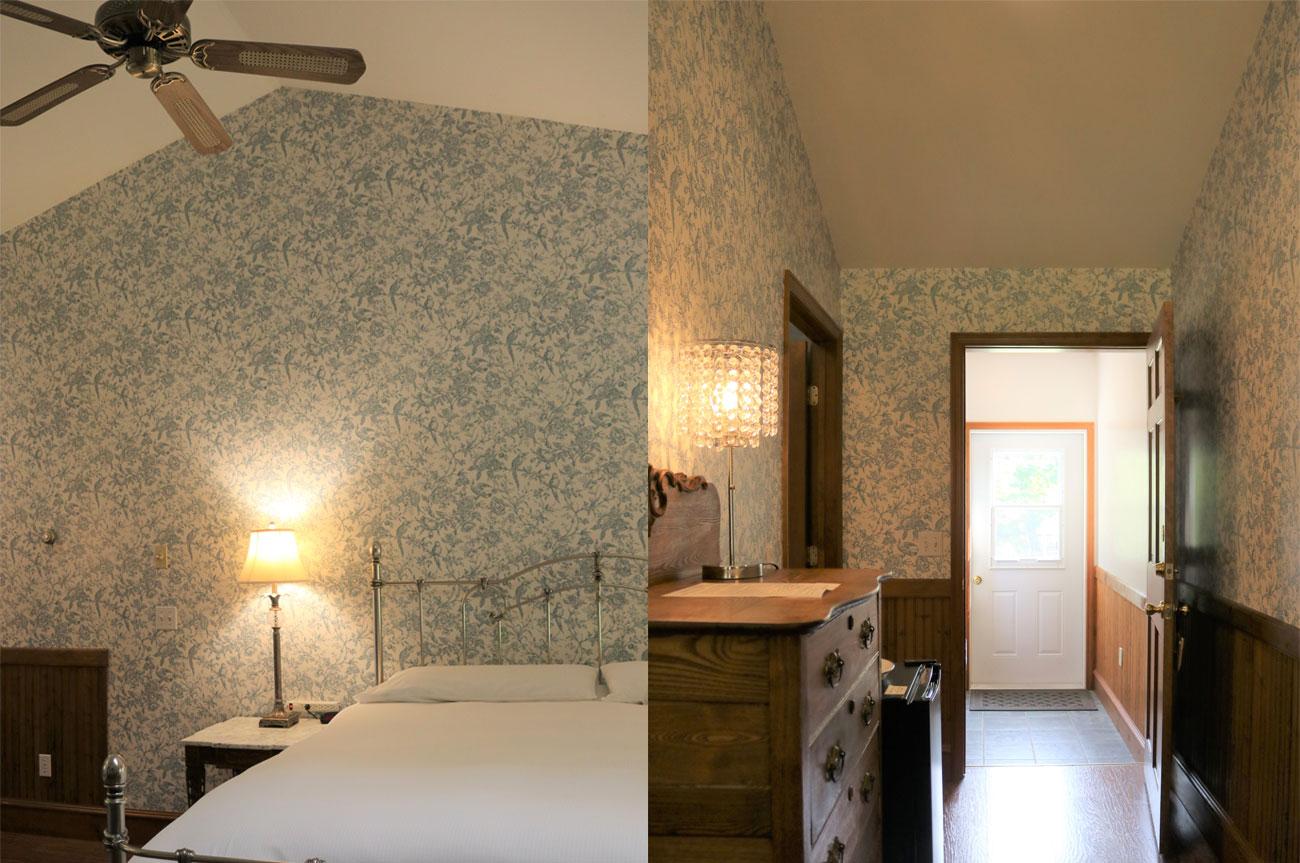 Collage Bed and Entrance Room 21 | AlbergoAllegriaHotelandbreakfastrestaurant | Windham NY