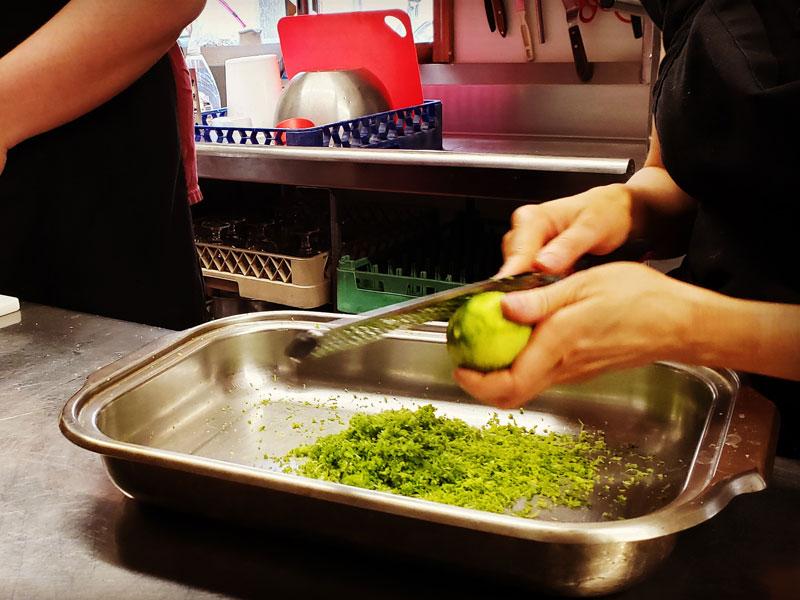 Happiness Peeling Veggies | AlbergoAllegria breakfast restaurant | Catskills, New York